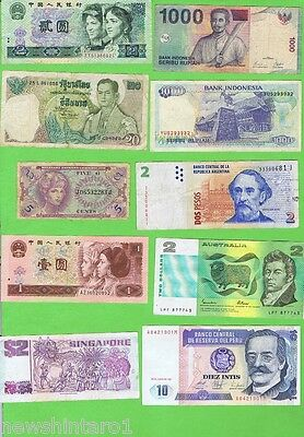 #d62. Lot Of 30 Circulated World Banknotes
