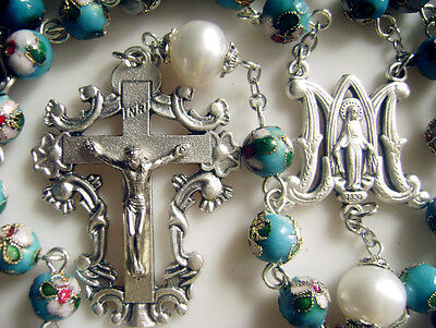 Lake Blue CLOISONNE & 10mm Real White Pearl BEAD ROSARY NECKLACE Italy cross