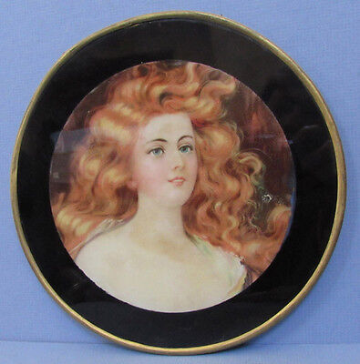 Antique Lady Lithograph In Orig Round Frame Old Pipe Cover Picture **Sale** M46