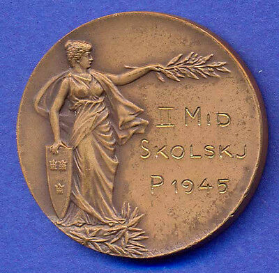 SWEDEN 1909 woman MILITARY ATHLETE inscribed 1945 34mm,Sports medalion