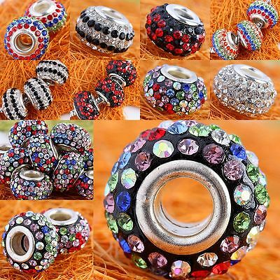 Wholesale Crystal Rhinestone Resin Plain/Striped Loose Beads Fit Charms Bracelet