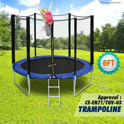 Genki 8ft Round Trampoline With Safety Net Enclosure Spring Pad Cover & Ladder