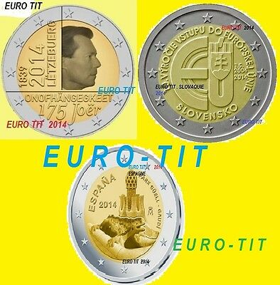 2 €    LUXEMBOURG  /  ESPAGNE   /  SLOVAQUIE   2014     3  PIECES     disponible