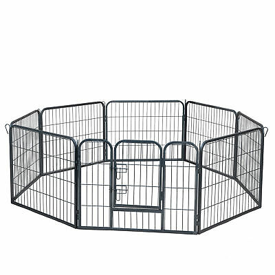 "OxGord 24"" Tall Wire Fence Pet Dog Folding Exercise Yard 8 Panel Metal Play-Pen"