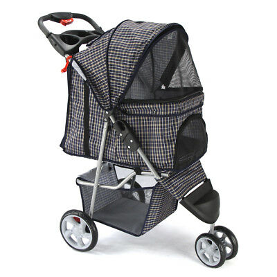 Pet Stroller Cat Dog 3 Wheel Jogger Travel Folding Carrier PLAID BLUE