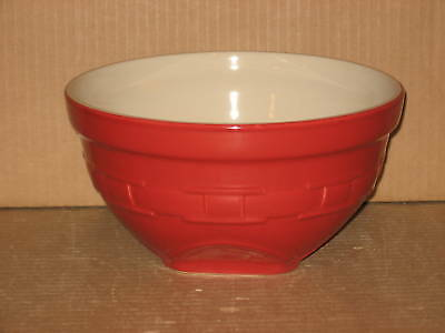 Longaberger Medium Mixing Bowl pottery tomato red mint condition never used