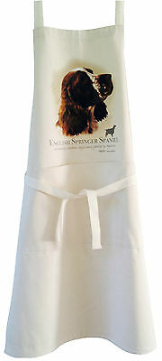 Springer Spaniel Dog Natural Cotton Apron Double Pockets UK Made Baking Cooking