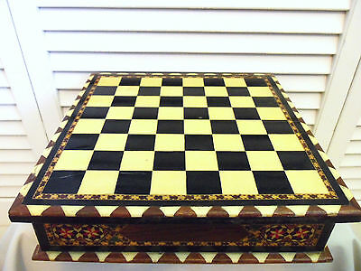 Vintage Marquetry Chess Board Game Exotic Moroccan Inlayed Wood Box