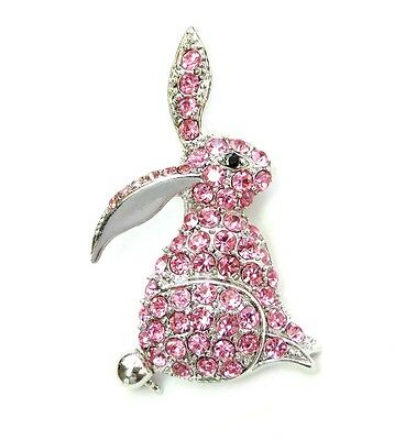 Gorgeous Pink Crystal Bunny Rabbit Pin Brooch For Easter R50