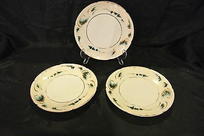 """3 Theodore Haviland Limoges France Gold Trim with Green Dessert Plates 7-1/2""""~ 3"""