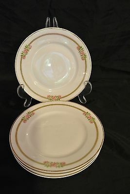 4 Theodore Haviland Limoges France Mark P Gold Trim Pink Roses ~Bread Plates