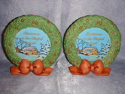 Precious Moments - Porcelain Candle Holders - CHRISTMAS AT THE CHAPEL 1996