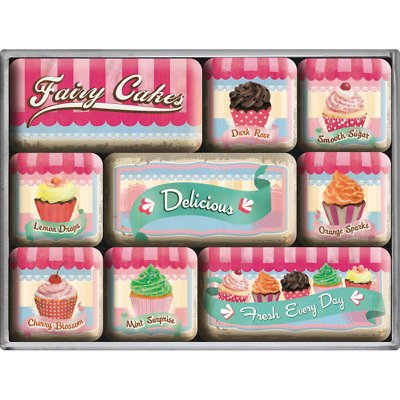 9-Teiliges Magnetset 83055 - Fairy Cakes Delicious Fresh Every Day - Geschenkbox