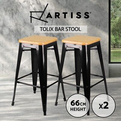 2 x Tolix Replica Xavier Bar Stool Metal Steel Chair Bamboo Seat 66cm BLACK