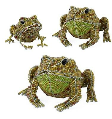 BEADWORX -TOADS IN THE GARDEN HAND CRAFTED ~ BEAD WORK - BEADED GIFT