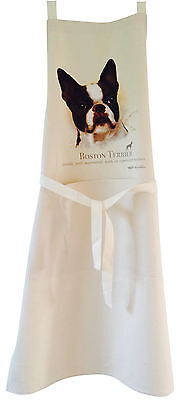 Boston Terrier Dog Natural Cotton Apron Double Pockets UK Made Baker Cook Gift