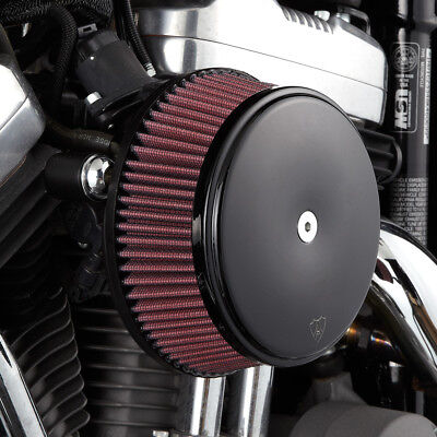 Arlen Ness Big Sucker Stage I Air Filter Kit W/Cover Red Filter Black For Harley