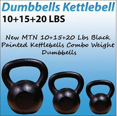 New MTN 10+15+20 Lbs Black Painted Kettlebells Combo Weight Dumbbells
