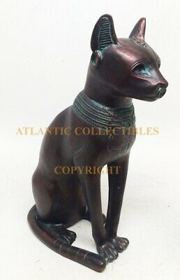 Vintage Faded Copper Bastet Cat Resin Sculpture Feline Goddess Figurine