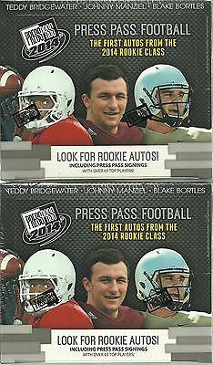 (2) 2014 Press Pass Football NFL Trading Cards New Sealed 16ct Retail Box LOT