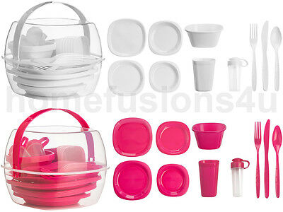 51 Piece Picnic Set 6 Person Plastic Camping Bbq Party Outdoor Dining Picnicware
