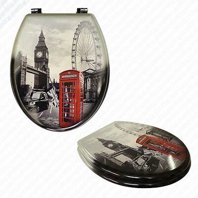 London Novelty Deluxe Toilet Seat MDF | Chrome Metal Bottom Fixing Hinges | NEW