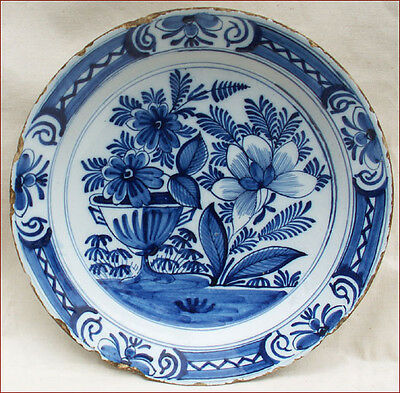 Large English Delft Blue & White Dish Chinese Faience 18th Century