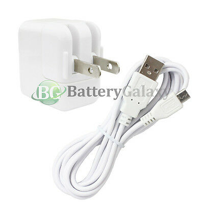 6FT USB Micro Cable+RAPID Wall AC Charger for Samsung Galaxy Tab 3 7.0 8.0 10.1