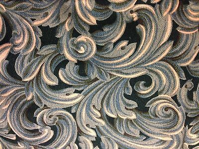 Vintage Art Deco Barkcloth Fabric Teal, Blues And Cream Feathers- Leaves