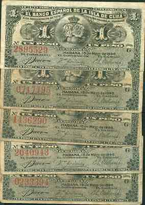SPAIN COLONIAL LOT 5x 1 PESO 1896. CONDITION AS SCAN. ORIGINAL.