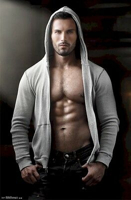 MALE BODY PINUP POSTER ~ GREY HOODY 22x34 Abs Photography 13408