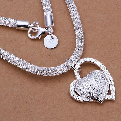 925 Fashion Silver Charm Heart Pendant Beautiful women Necklace JEWELRY cute