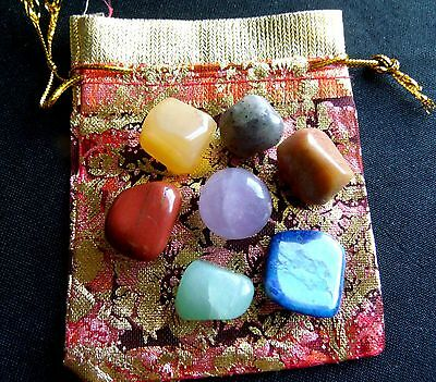 7 CHAKRA COMPLETE CRYSTAL HEALING TUMBLED STONES w/ POUCH - (1090)