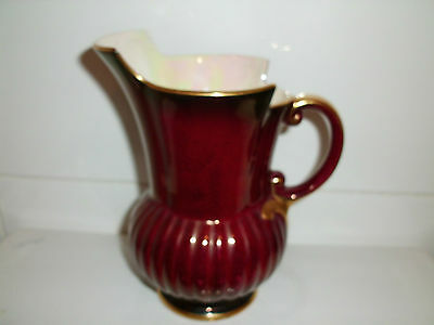 Superb Vintage Crown Devon Gold Rimmed Ribbed Burgundy Jug/Pitcher