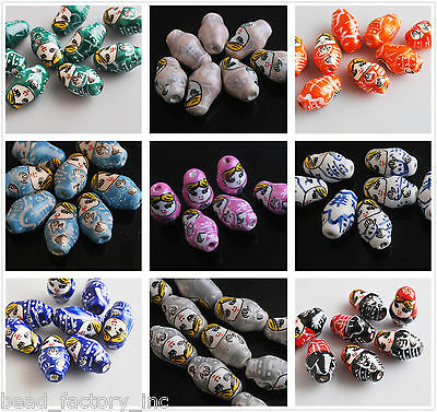 Assorted Colors Clay Russian Doll Ceramic Girl Spacer Bead  Finding Charms 22mm