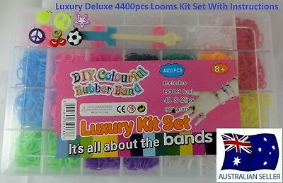 LOOM BANDS 4400 Piece Luxury Rubber Looms Kit Colourful Deluxe DIY Tool Set
