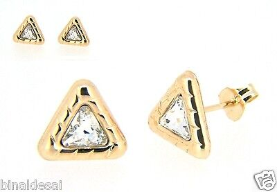 Womens Ladies 9ct Gold 8mm Large Triangle CZ Studs Earrings Work B'day GIFT BOX