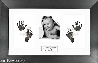 New Baby Boy Girl Keepsake Gift Hand Footprint Inkless Prints Kit Pewter Frame