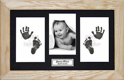New Baby Girl Boy Gift Hand Footprint Inkless Print Kit & Solid Oak Wooden Frame