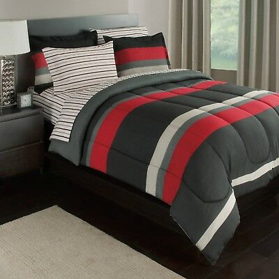 Black Gray Red Stripes Boys Twin Comforter Set 5 Piece Bed In A Bag