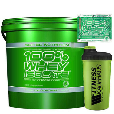 Scitec Nutrition Whey Isolate 4000g Eiweiss + Fitnesskaufhaus Shaker + Probe