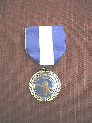last place champs male bowling gold medal blue and white pin ribbon