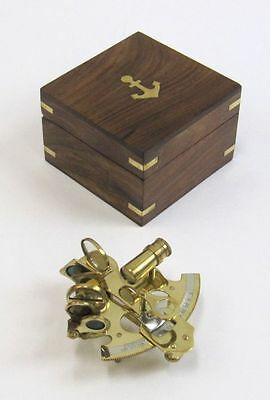 """4"""" BRASS SEXTANT-ASTROLABE-WITH WOODEN BOX-NAUTICAL MARITIME"""