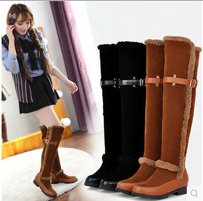 Womens new Frosted PU mixed belt buckle ovet the knee long boots winter warm