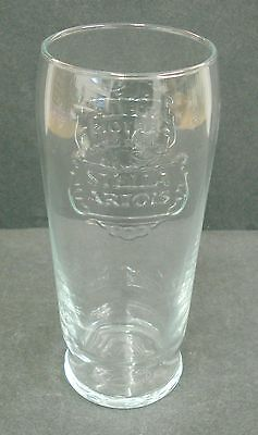 STELLA ARTOIS LAGER BEER EMBOSSED TALL HOME BAR PUB PINT GLASS 562 USED Z6