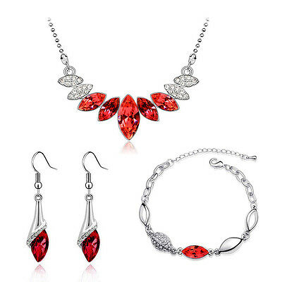 Red & Silver Crystal Bridal Jewellery Set Drop Earrings Bracelet & Necklace S651