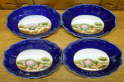 """4 Antique Floral & Blue Old Paris English Small Oval Bowls - 6"""" x 4 1/4"""""""