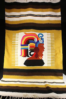 Vintage Southwestern Hand Woven Saddle Stadium Blanket Throw Chief Headdress