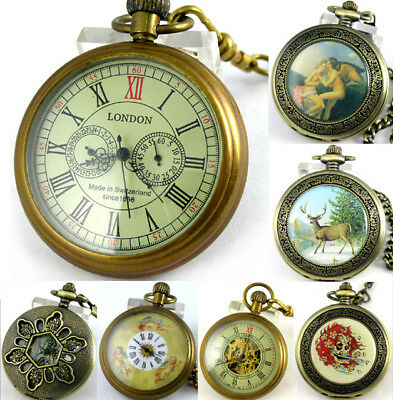 Antique Retro Steampunk Full Copper Bronze Pocket Watch Mechanical Hand-winding