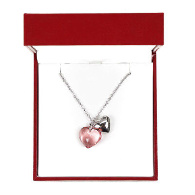 Baccarat B Mine Pink Crystal & Silver Heart Charm Pendant Ladies Womens Necklace